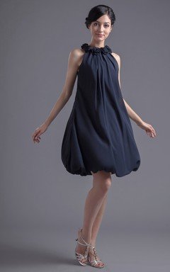 Gossamery Short Chiffon Pleated Dress With Floral Neckline
