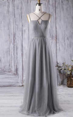 2016 Spaghetti Straps Beaded Light Gray Bridesmaid Dress