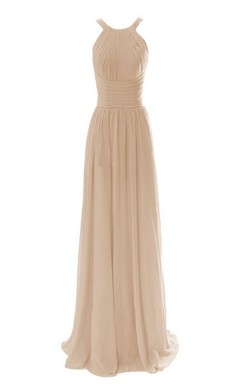 High-neck Long Chiffon Dress With Ruched Waist