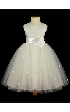 A-line Princess Scoop Sleeveless Hand-made Flower Floor-length Tulle Flower Girl Dresses