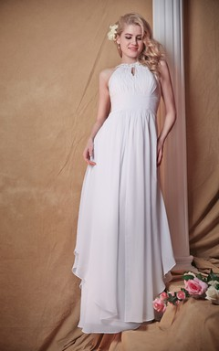 Majestic Racer Swing Dress With Ruched Waist and Side Draping