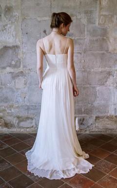 Spaghetti Empire Sleeveless Long Chiffon Wedding Dress With Criss Cross