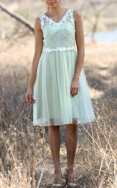 Short Knee-length Tulle&Lace Dress With Flower&Illusion