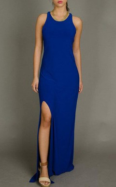 Blue Open Back Maxi Sexy Slit Evening Formal Long Evening Gown Cocktail Bridesmaid Dress