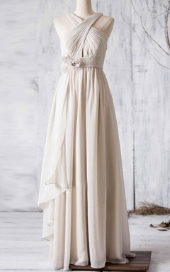 Pleated A-line Gown With Cross Straps and Flowers