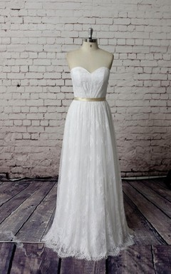 Sweetheart Long Lace Bridal Gown With Satin Belt