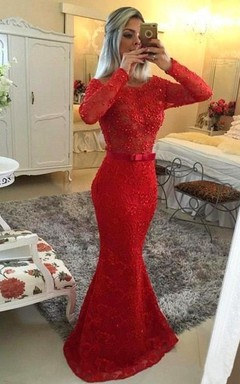 Glamorous Jewel Mermaid Red Pom Dress Long Sleeve With Beadings
