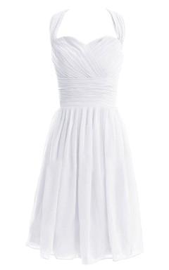 Sleeveless Asymmetrical Ruched Knee-length Pleated Chiffon Dress