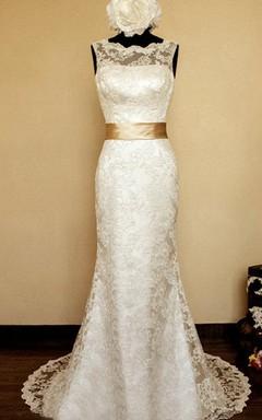 Jewel Sleeveless Deep-V Back Mermaid Satin Dress With Sash And Lace