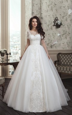 Elegant Wedding Dress For Princess With Long Illusion Sleeves Illusion Neckline