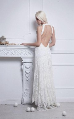 V-Neck Sleeveless Backless Sheath Floor-Length Lace Wedding Dress