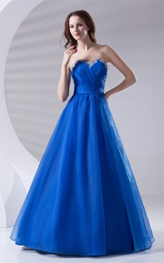 Sweetheart Criss-Cross A-Line Gown with Appliques