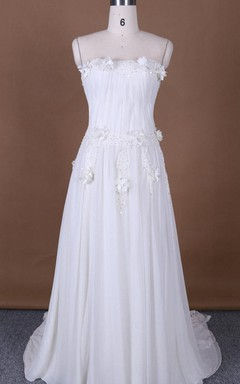 Sleeveless Sleeve Chiffon Lace Satin Dress With Appliques Flower