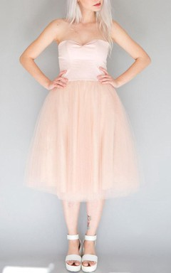 Mini Tea-length Strapped Sweetheart Tulle Dress