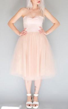 Mini Tea-length Strapped Sweetheart Tulle Dress