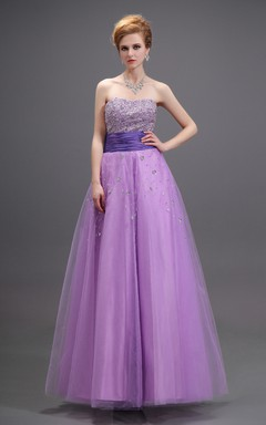 Sweetheart Sleeveless A-Line Dress With Soft Tulle And Beaded Top