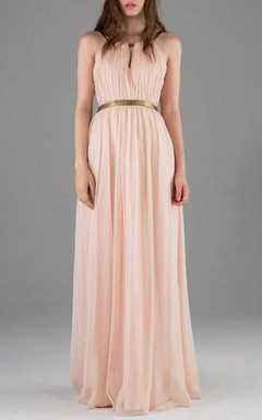 Floor-length Backless Chiffon Dress With Keyhole Back