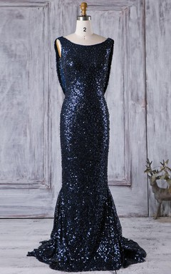 Long Scoop Cowl Dress With Sequins