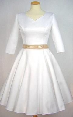 V-Neck Half-Sleeve A-Line Satin Short Wedding Dress With Sash