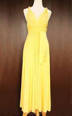 Maxi Yellow Bridesmaid Convertible Twist Wrap Dress