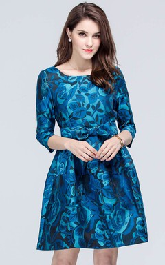 Flower Print Long Sleeve Mini Dress with Bow