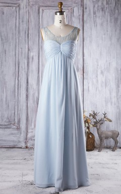 Empire Maxi Sweetheart Empire Chiffon&Tulle Dress With Beading&Illusion