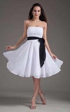 Strapless Midi Chiffon Dress With Bow And Sash