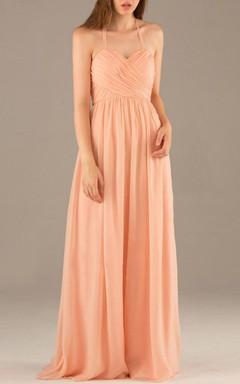Long Halter Strapped Sweetheart Chiffon Dress
