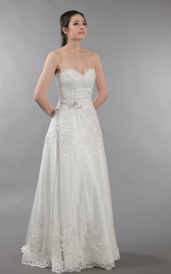 Strapless Sweetheart Ruched Dot Lace Dress With Alencon Lace Appliques