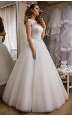 modern bateau sleeveless tulle lace wedding dress floor length lace up