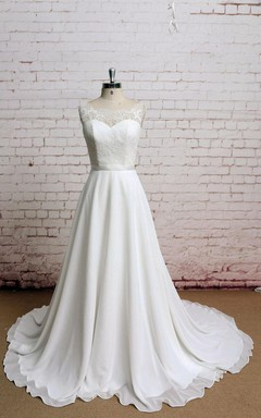 Simple Bateau Neck Sleeveless Chiffon Wedding Dress With Sheer Back