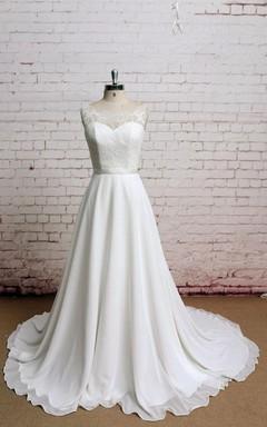 Simple Bateau Neck Sleeveless Chiffon Wedding Dress With Sheer Back