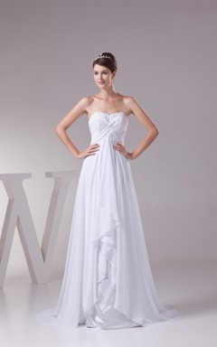 Strapless Empire Pleated Dress with Jewel and Draping