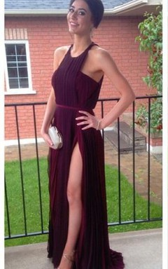 Gorgeous Burgundy Sleeveless Prom Dresses 2016 Long Chiffon