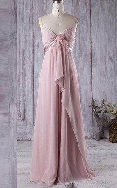 Empire Floor-length Spaghetti Strapped Empire Chiffon Dress With Flower