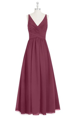 V-Neck Sleeveless A-Line Chiffon Dress With Ruched Crisscross Bodice