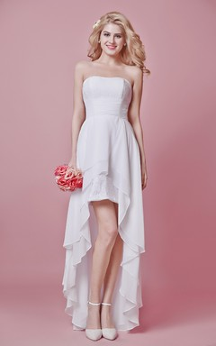 Strapless Pleated Layered Ruffle Chiffon Dress