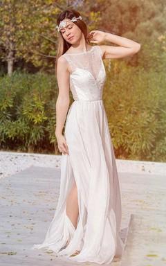 Bateau Sleeveless Split Front Lace Chiffon Backless Wedding Dress
