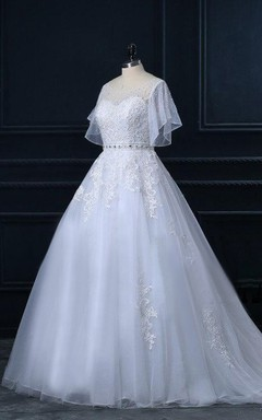 Short Cathedral Train Tulle Lace Satin Dress With Beading