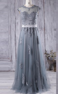 A-line Maxi Sweetheart Tulle&Lace Dress With Illusion