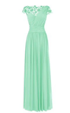 Lace Cap-sleeve One-shoulder Pleated Chiffon A-line Dress