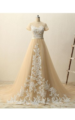 Short-sleeved A-line Ballgown with Appliques and Pleats