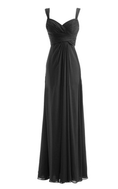 Spaghetti Straps Long Chiffon Dress With Basque Waist