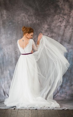 Scoop Neck Long Sleeve A-Line Organza Wedding Dress With Lace Bodice