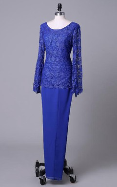 Scoop Neck Long Sleeve Lace And Chiffon Dress