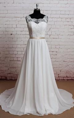 Scoop Neck Sleeveless A-Line Chiffon Wedding Dress With Lace Bodice
