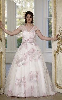 Ball Gown Long V-Neck Cap Tulle Satin Court Train Corset Back  Dress
