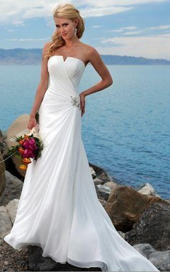 Sheath/Column Strapless Chiffon Wedding Dress