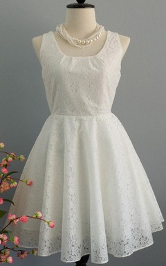 Square Neck Sleeveless Short Lace Dress With Back Bow