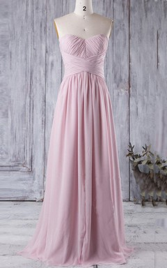 A-line Floor-length Strapped Sweetheart Chiffon Dress